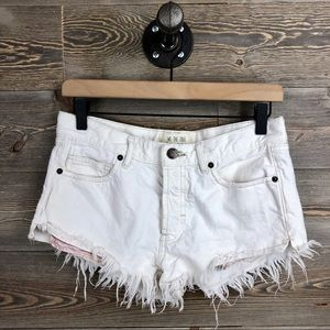 Free People We the Free White Frayed Hem Shorts